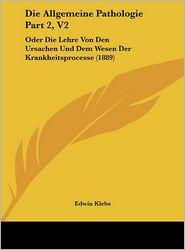 Die Allgemeine Pathologie Part 2, V2: Oder Die Lehre Von Den Ursachen Und Dem Wesen Der Krankheitsprocesse (1889) - Edwin Klebs