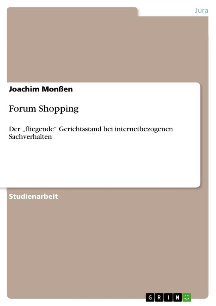Forum Shopping als eBook Download von Joachim Monßen - Joachim Monßen