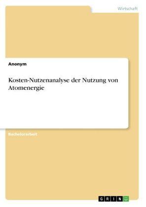 Akademische Schriftenreihe: Kosten-Nutzenanalyse der Nutzung von Atomenergie - Anonym