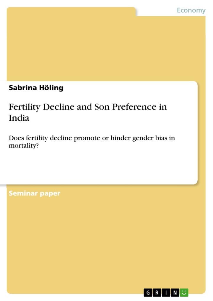 Fertility Decline and Son Preference in India als eBook von Sabrina Höling - GRIN Publishing